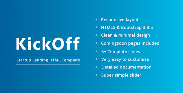 KickOff - Responsive Startup Landing Pages